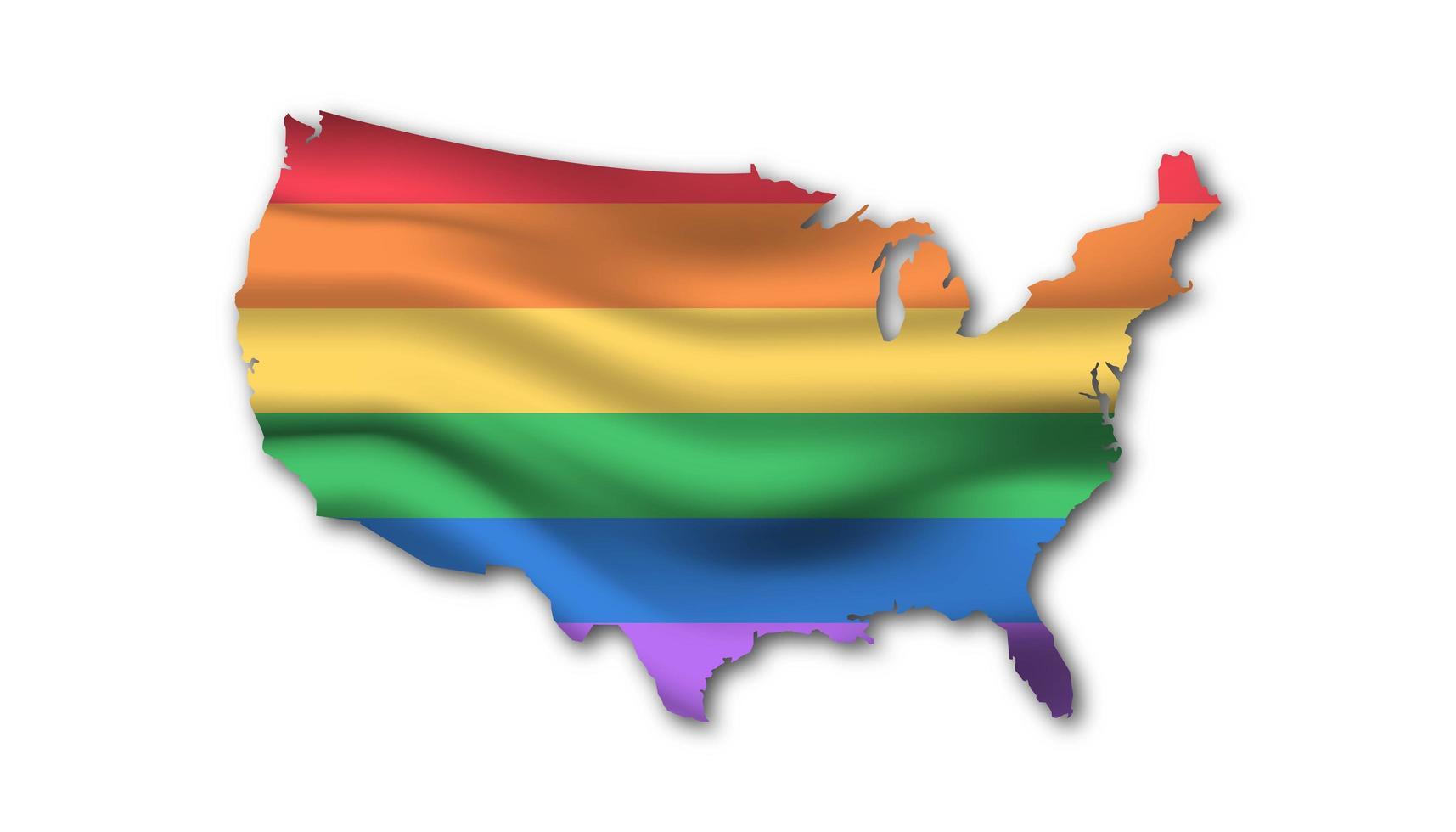 Mappa di bandiera lgbt degli stati uniti d'america vettore
