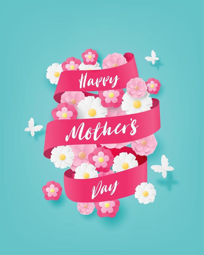 carta arte felice festa della mamma banner intorno ai fiori vettore