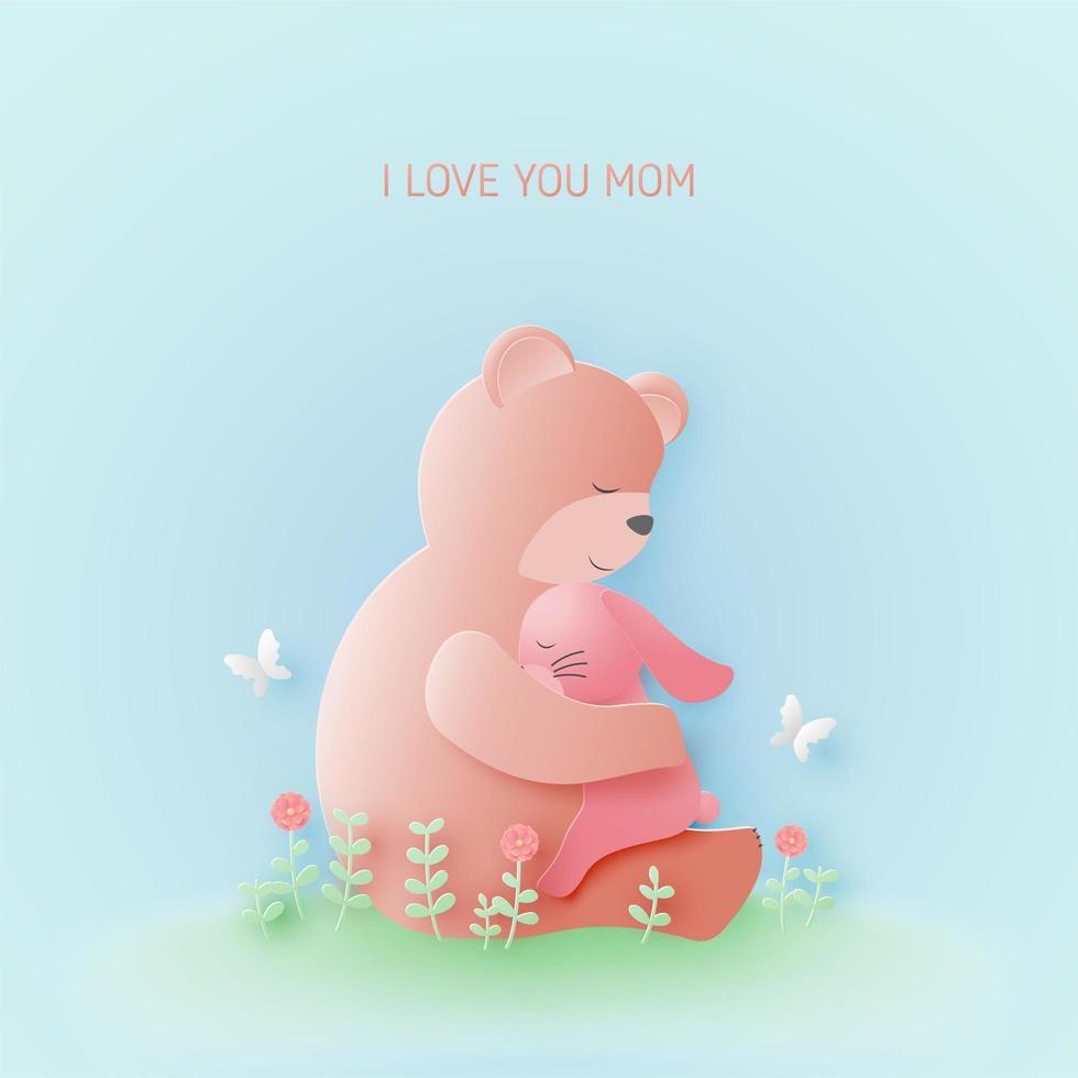 disegno festa della mamma con orso che abbraccia baby coniglio vettore