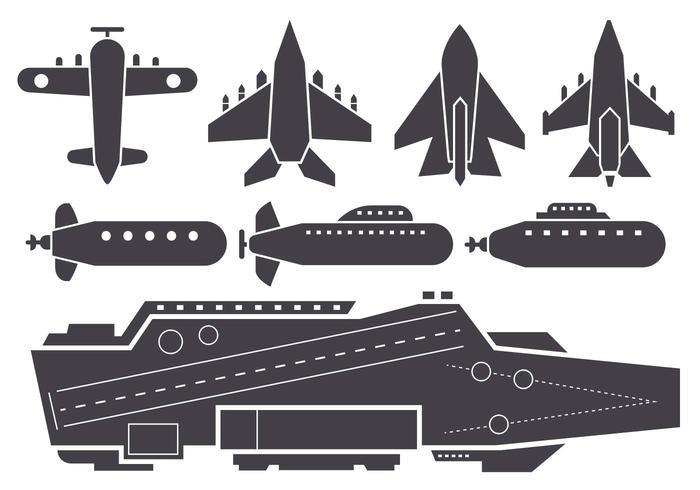 Silhouette Vettore di velivoli e Jet Aircraft