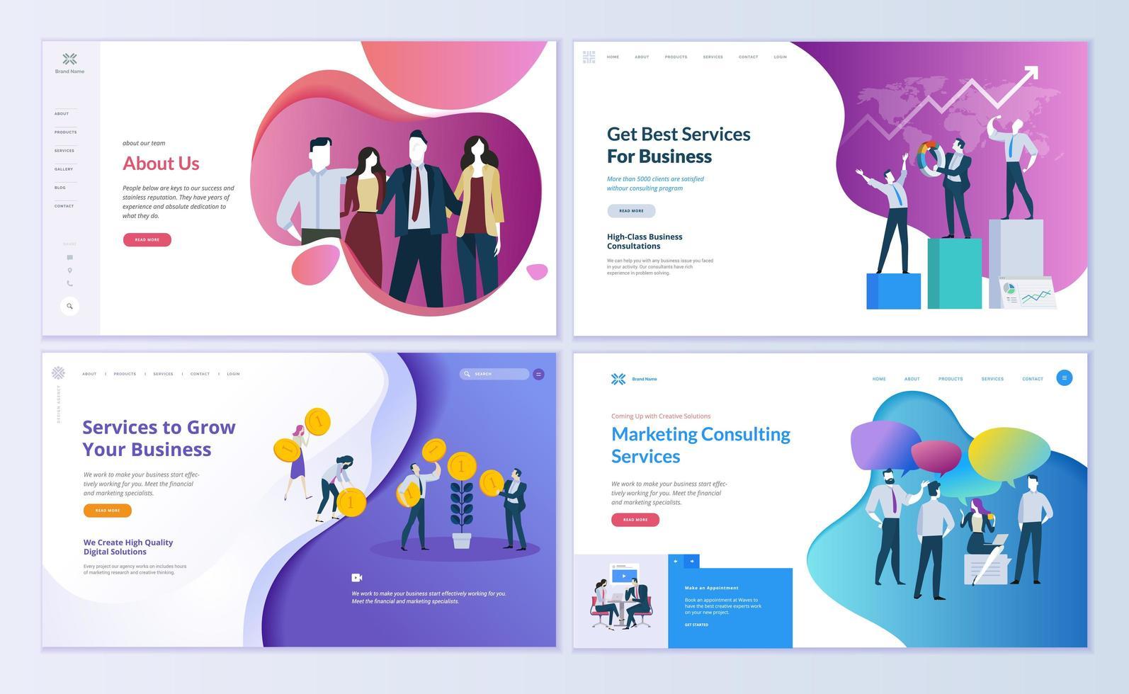 modelli di pagine Web per affari, finanza, marketing vettore