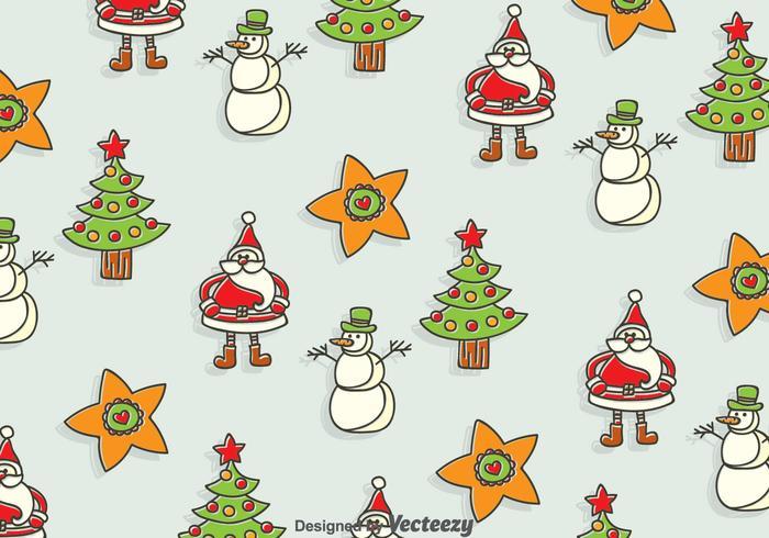 Fondo senza cuciture di Natale disegnato a mano vettore