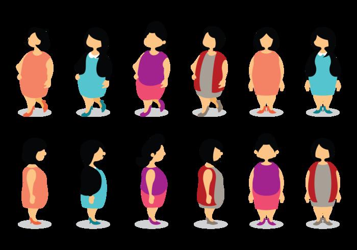 cartone animato di dimensioni più ragazze vettore