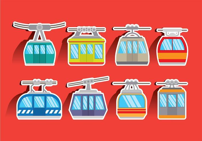 Icone variopinte di vettore della cabina di funivia