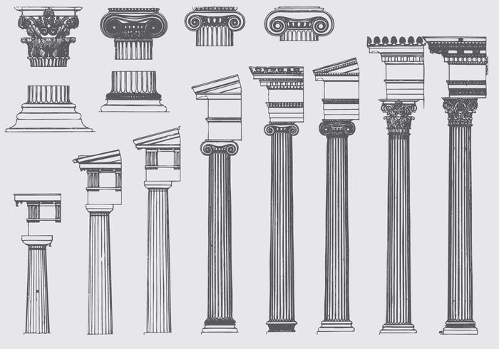 Evoluzione del pilastro romano vettore