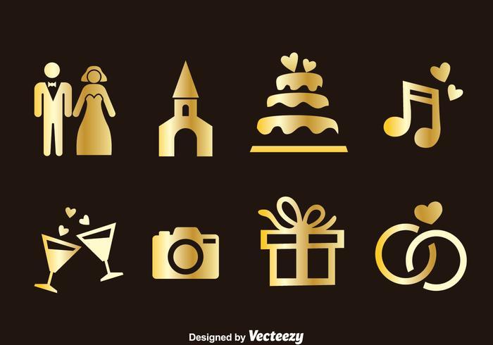 Vettore dorato delle icone dell'elemento di nozze