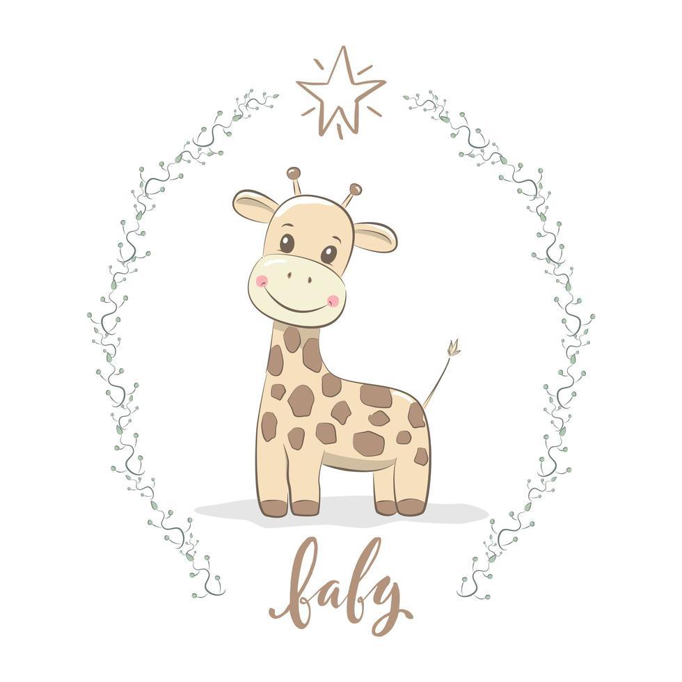 bambino carino giraffa vettore