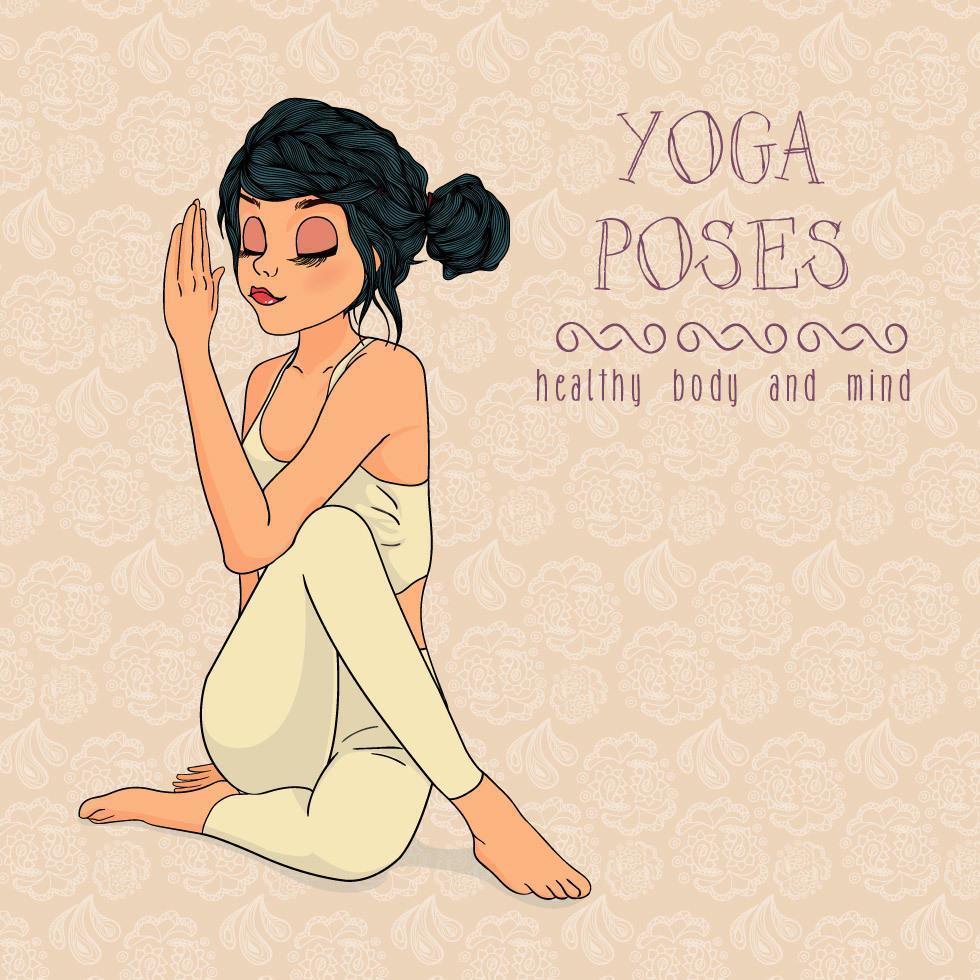 donna disegnata a mano in posa yoga vettore