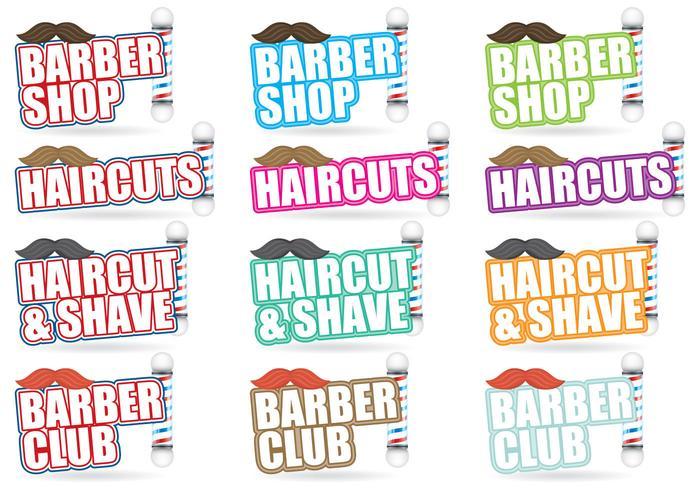 Titoli del negozio di barbiere vettore
