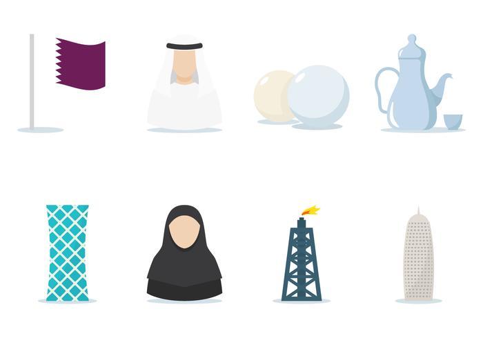 Set di icone piane del Qatar vettore