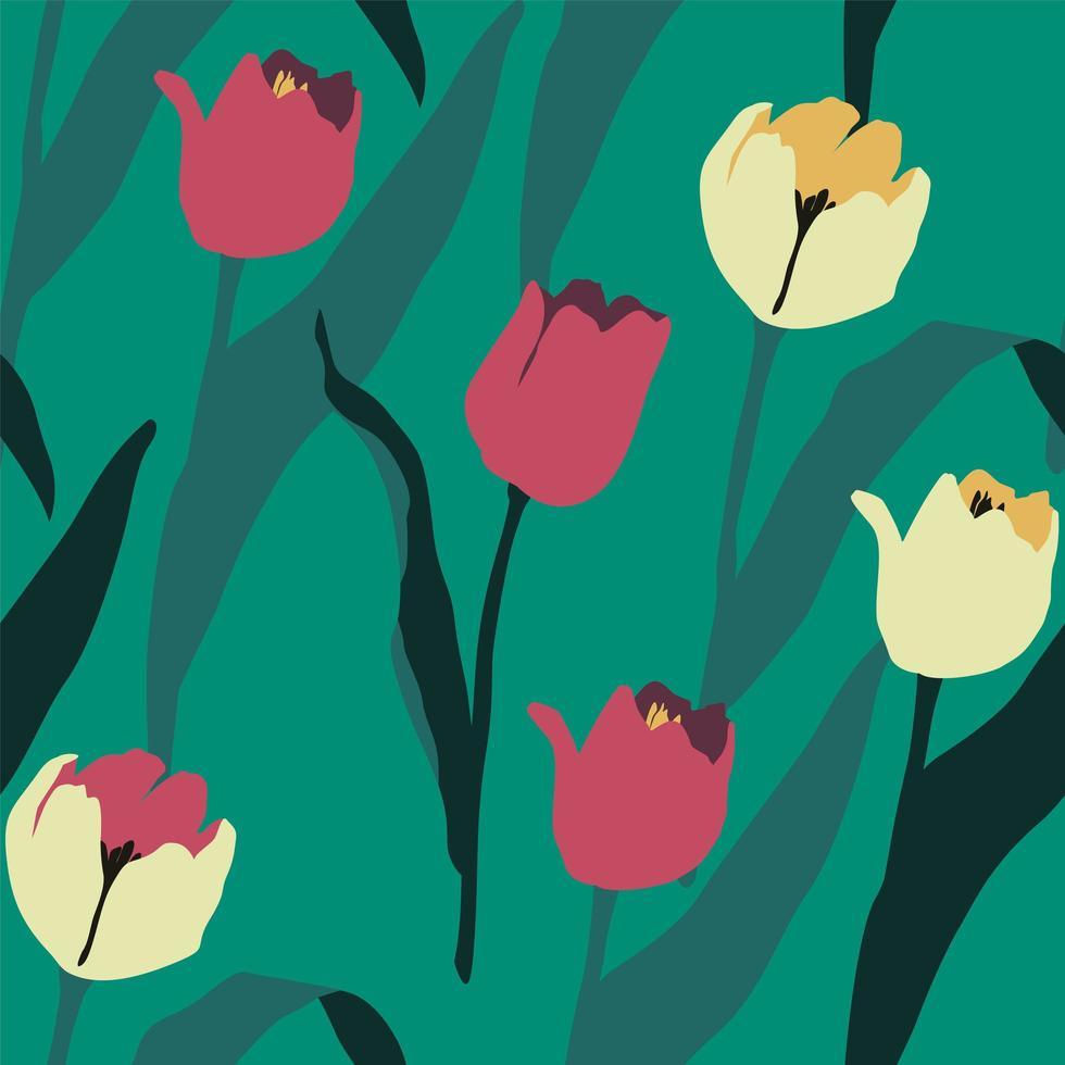 modello senza cuciture artistico con i tulipani astratti. design moderno vettore