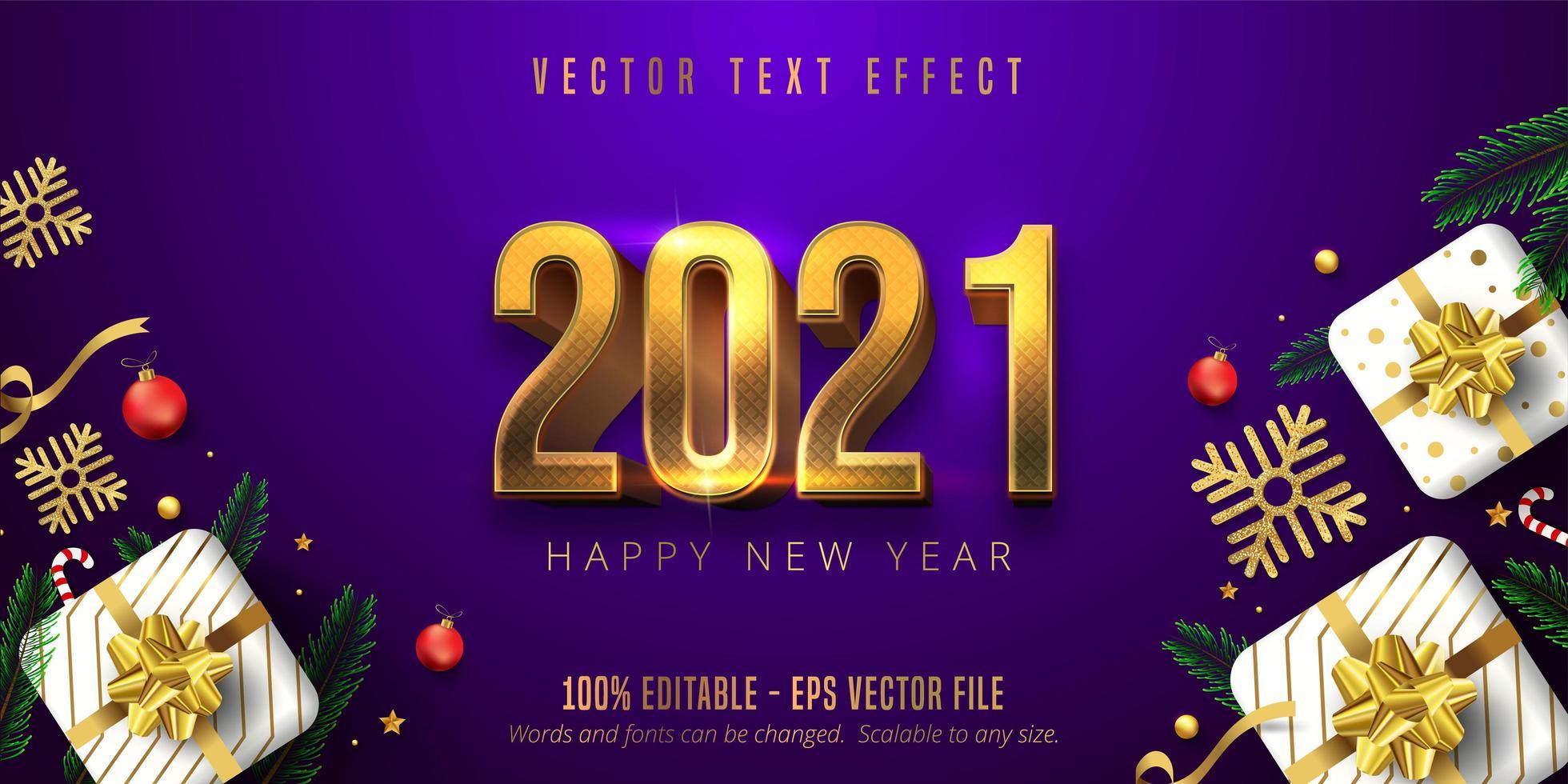 2021 effetto carattere felice anno nuovo vettore