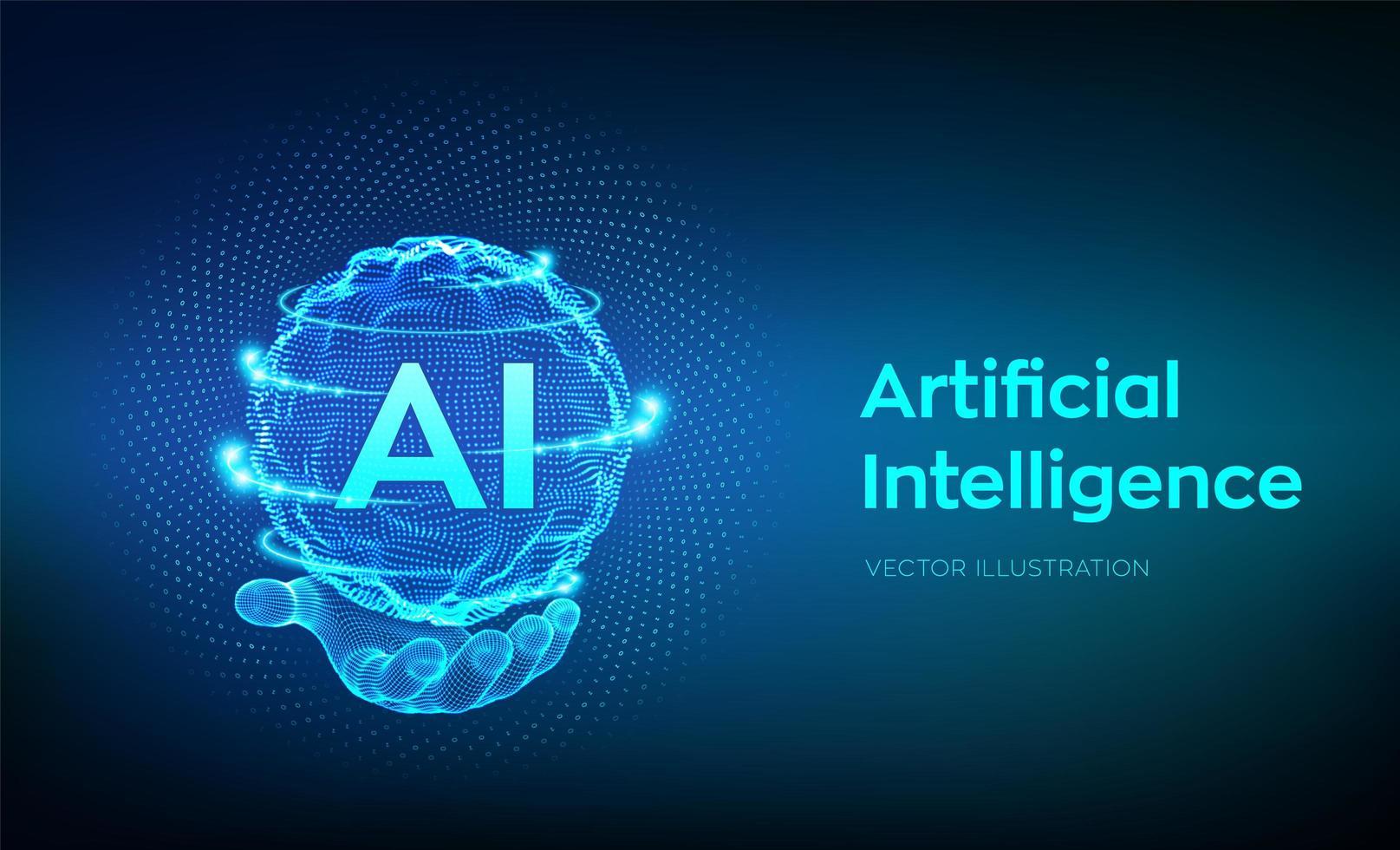 logo di intelligenza artificiale in mano vettore