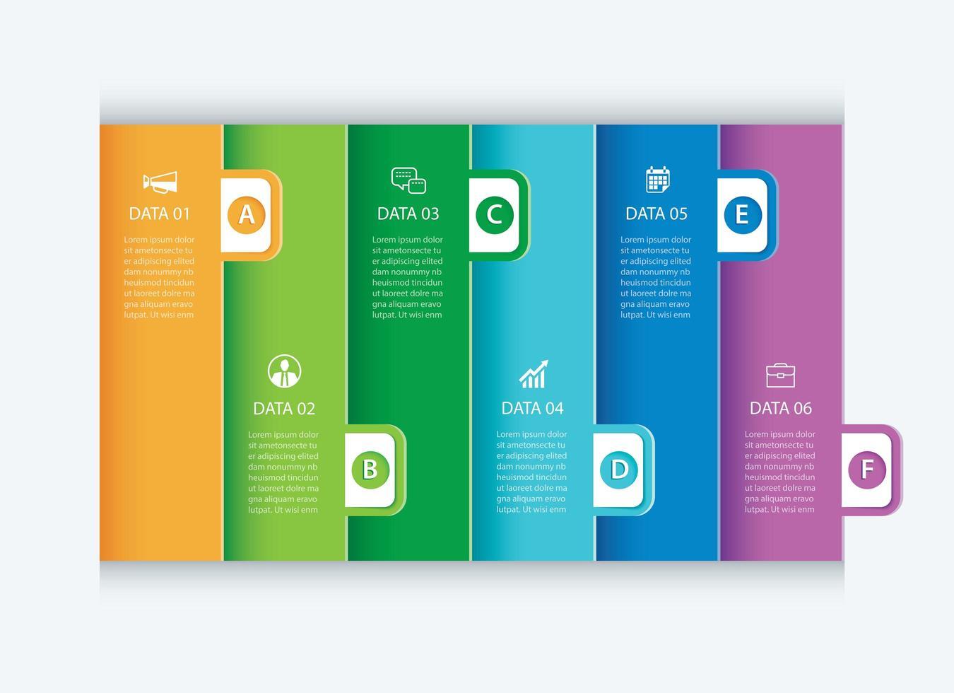 6 schede di infografica di dati vettore