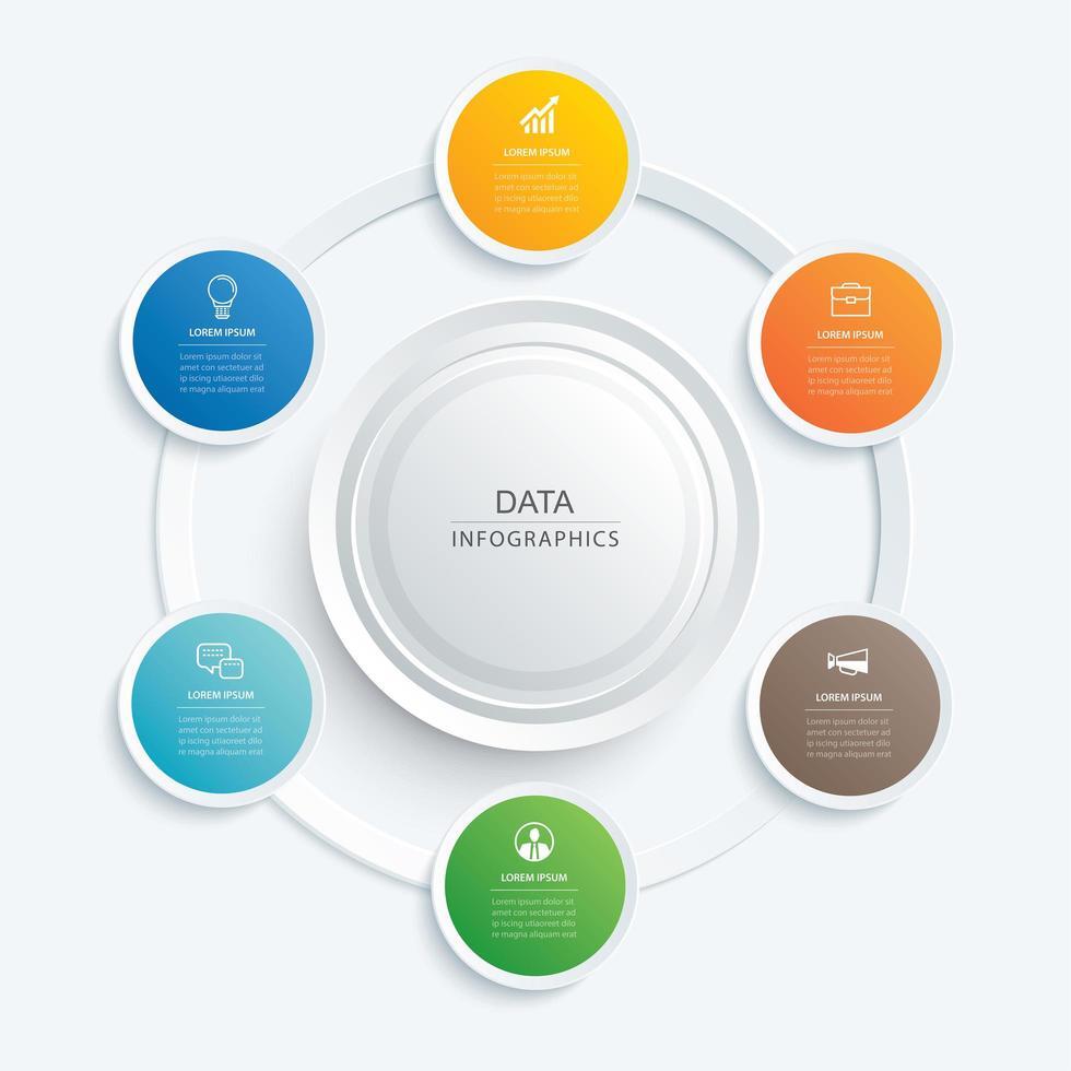 cerchi infografici per dati vettore