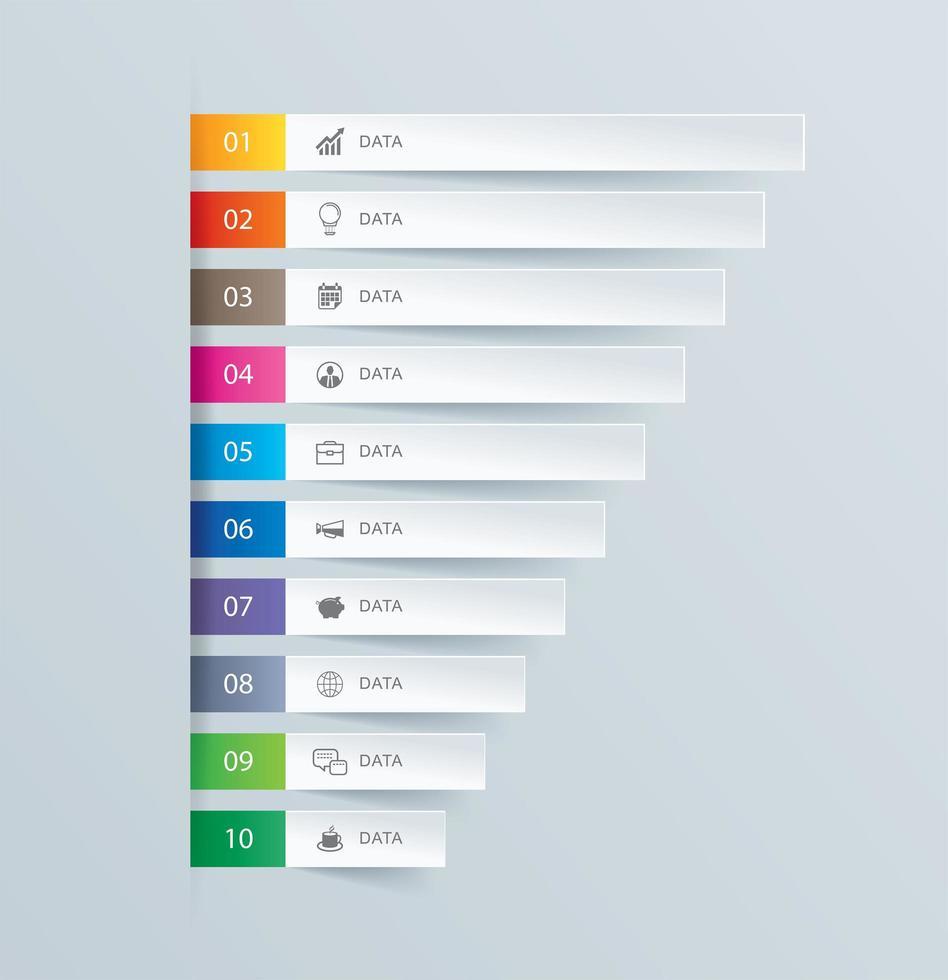 10 barre di infographics di dati del grafico vettore