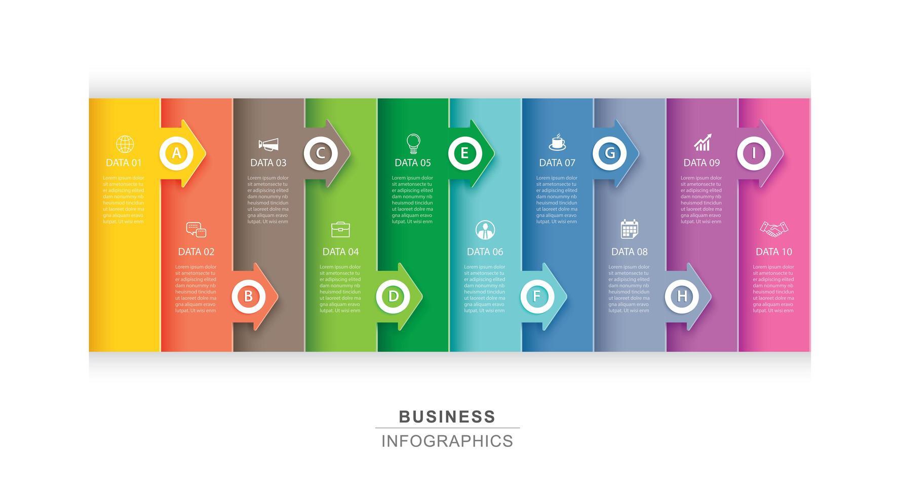 10 dati infografica scheda indice carta e freccia vettore