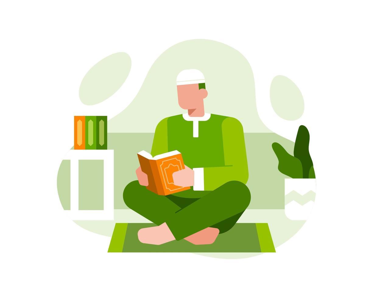 un uomo musulmano si siede su un tappeto da preghiera e legge il Corano vettore