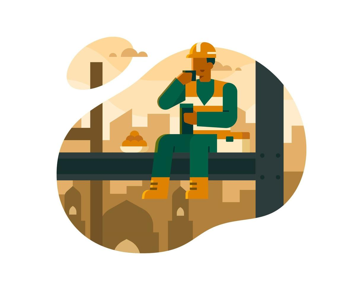 i lavoratori musulmani mangiano sopra l'illustrazione delle costruzioni di costruzione vettore
