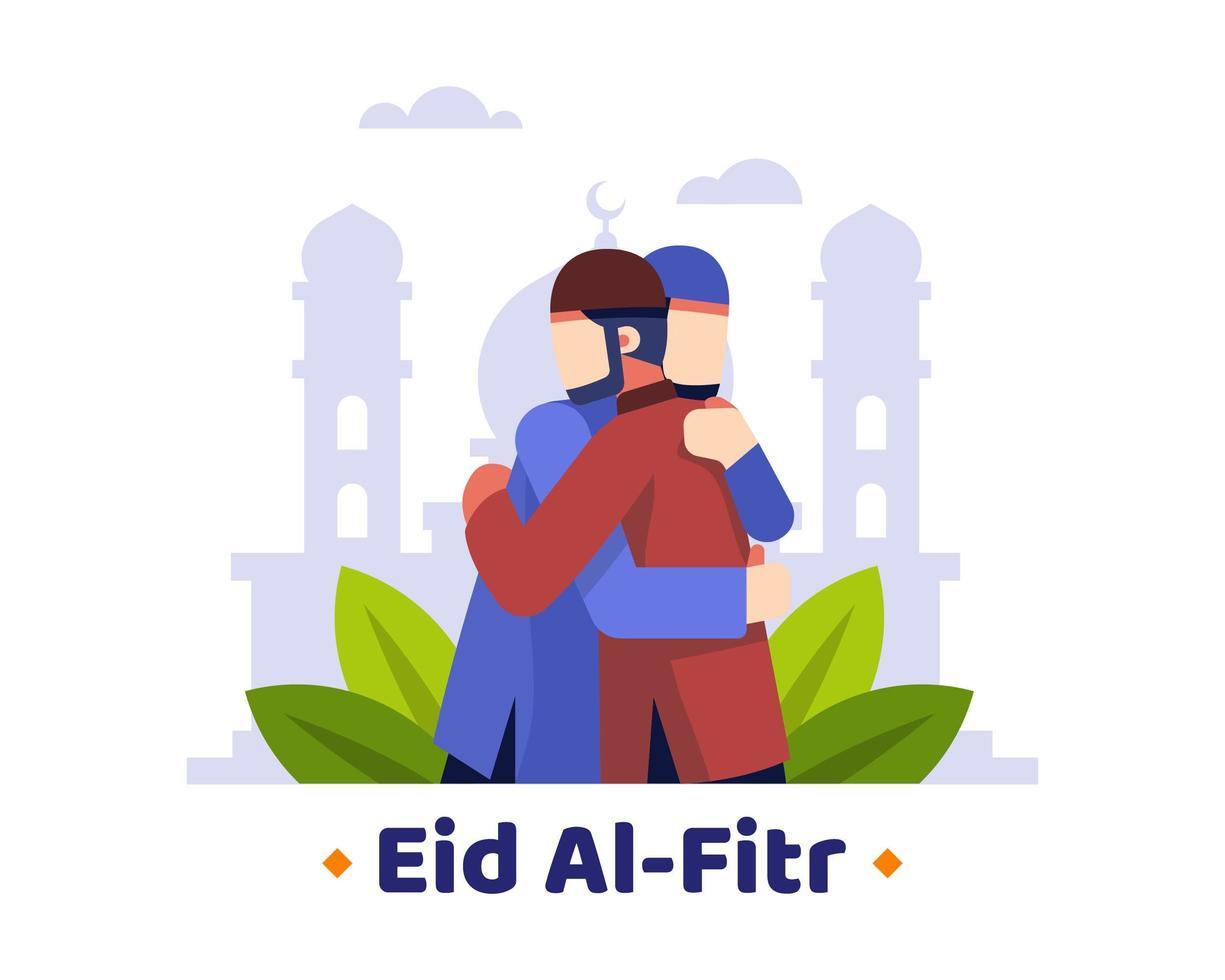 eid al fitr sfondo con due musulmani che si abbracciano vettore