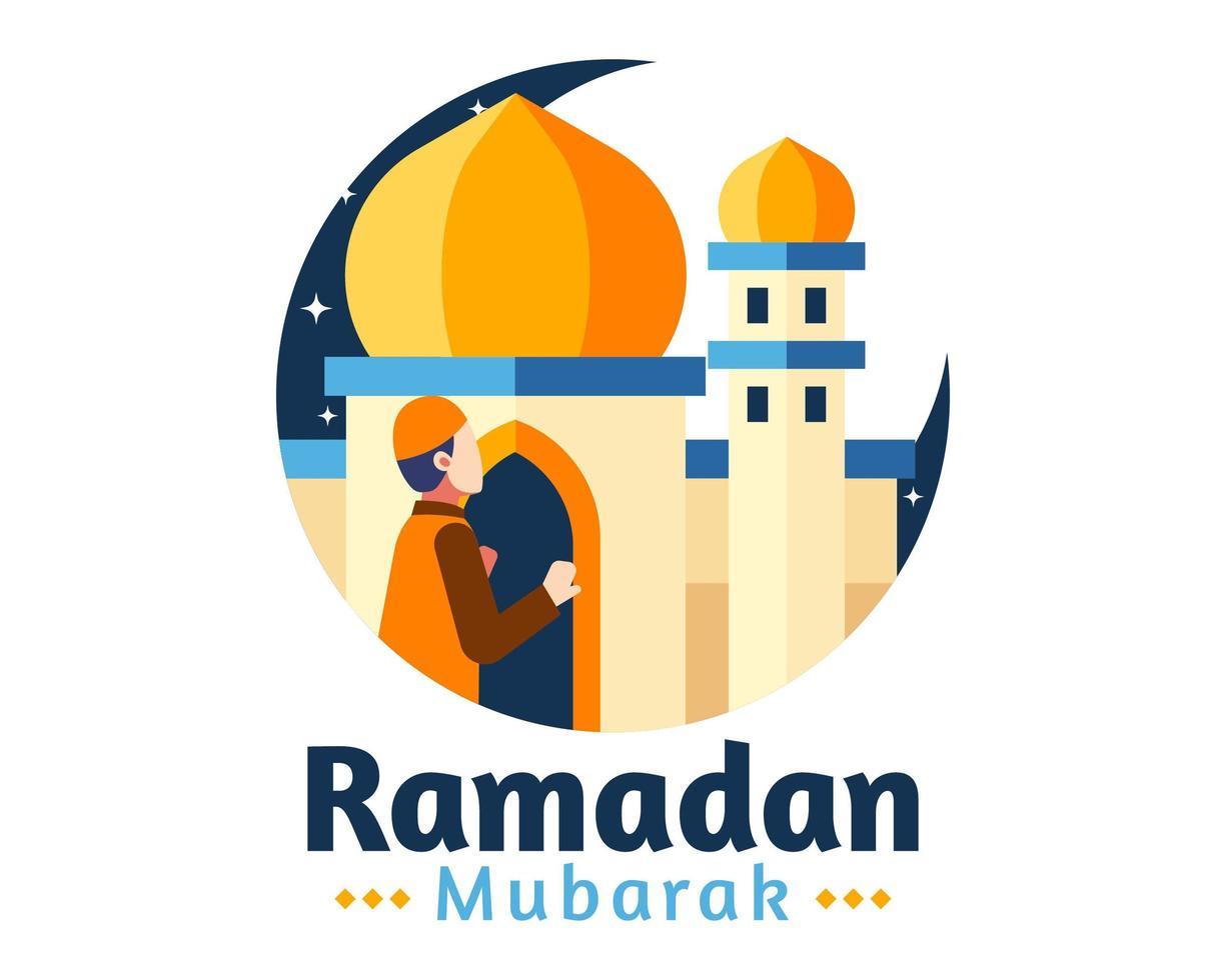 Ramadan Mubarak sfondo con l'uomo che prega davanti alla moschea vettore