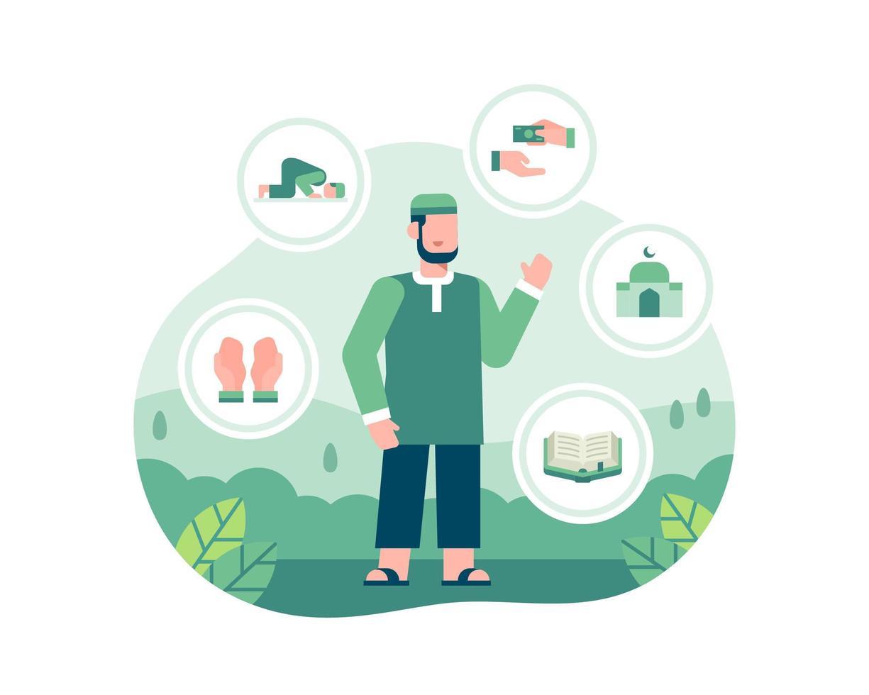 illustrazione di Ramadan con un uomo in piedi e circondato da icone islamiche vettore