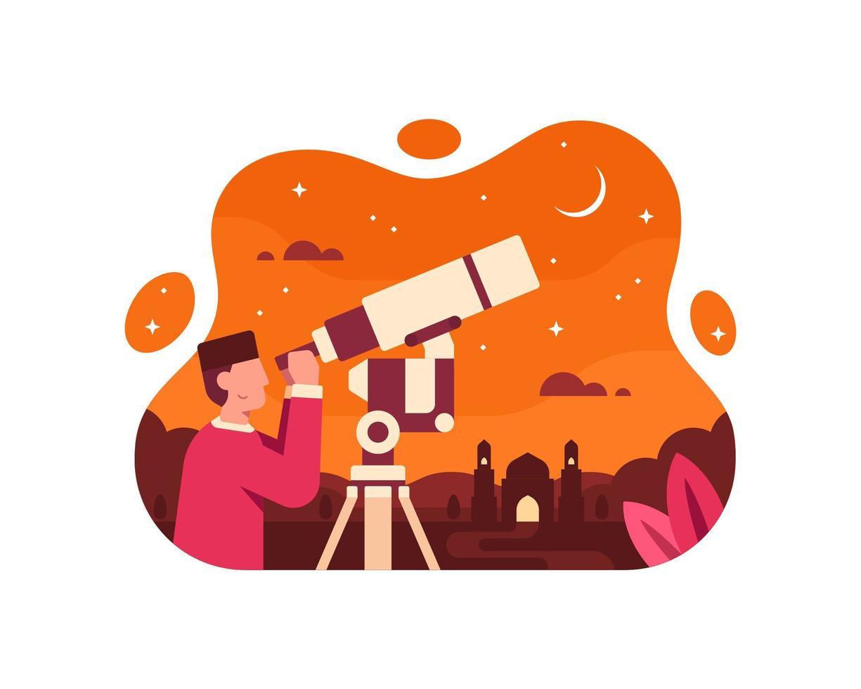 un astronomo musulmano che vede la mezzaluna usando un telescopio vettore