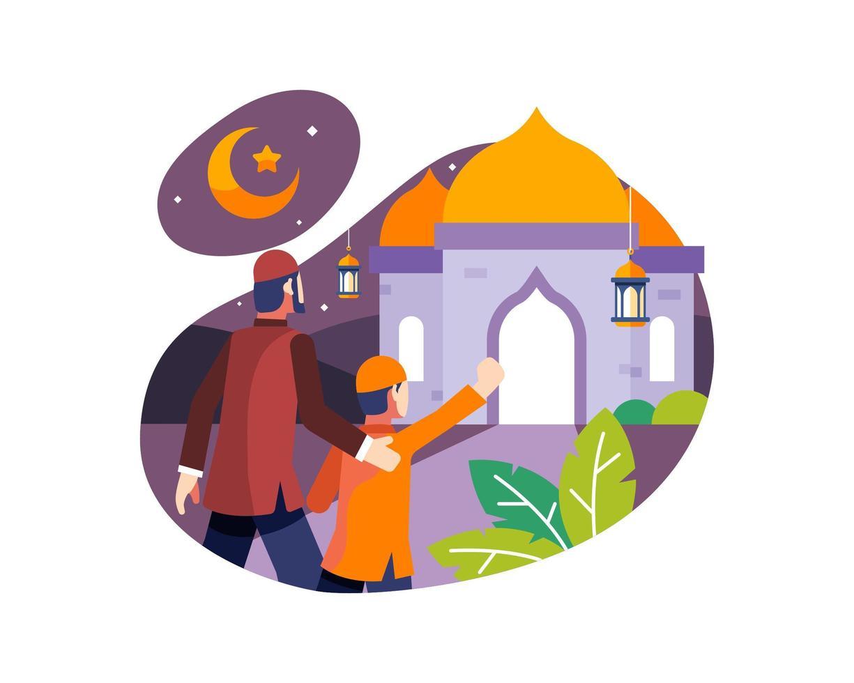 sfondo di Ramadan con padre e figlio, andando in moschea vettore
