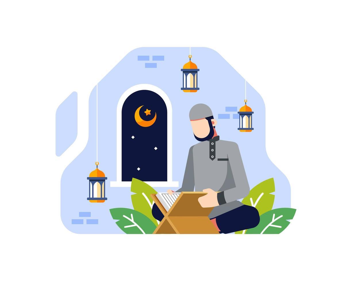 sfondo di Ramadan con un maschio musulmano che legge il Corano vettore