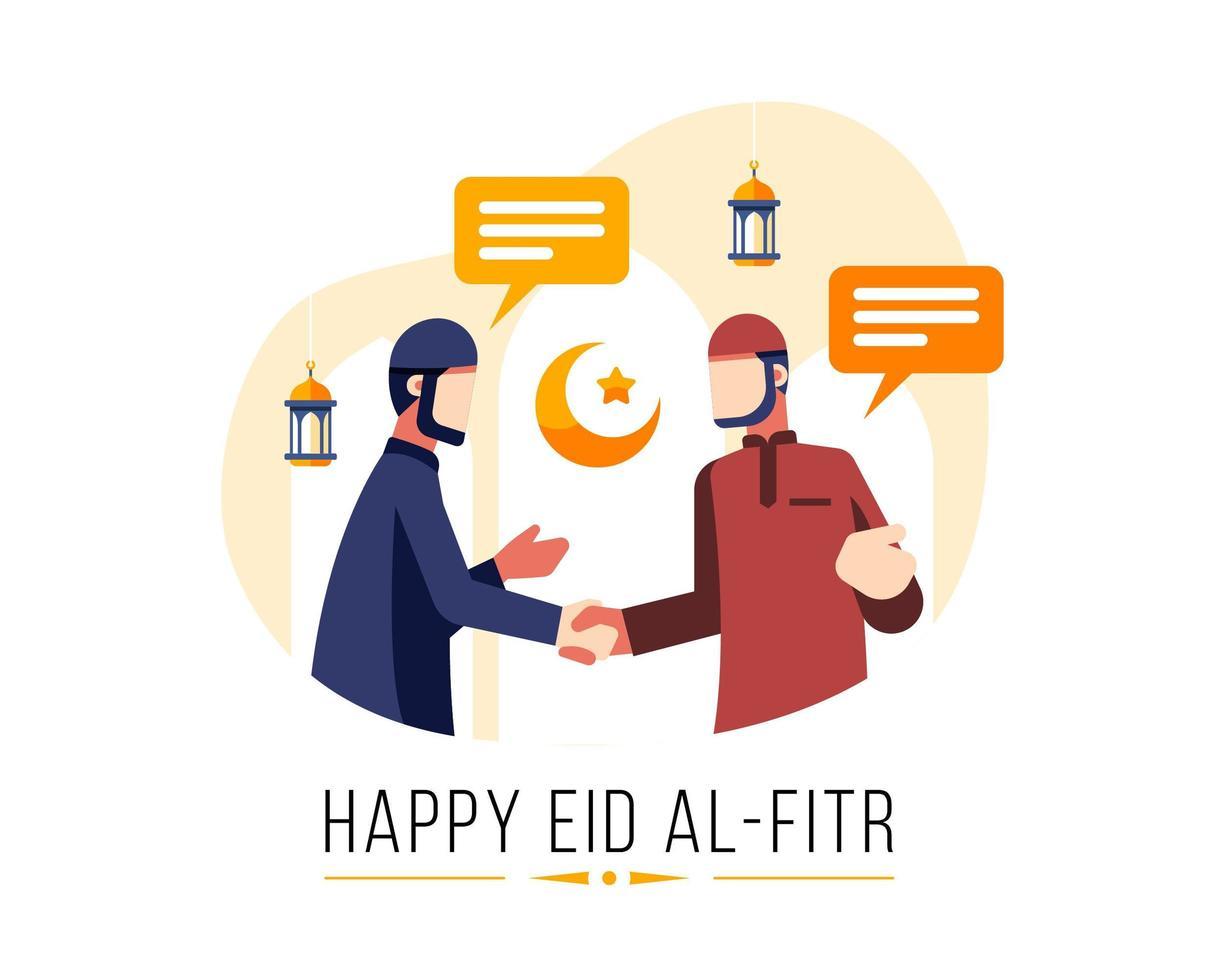 felice eid al fitr sfondo con due uomini musulmani che si salutano vettore