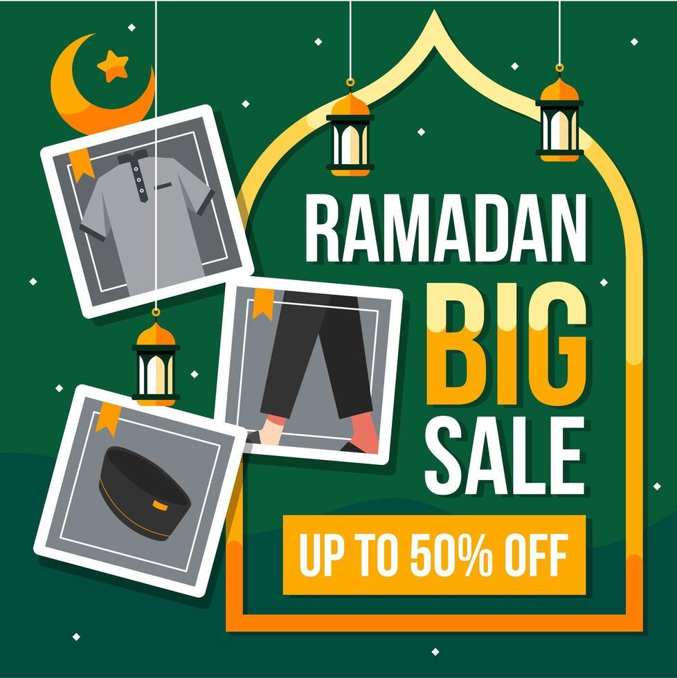 Ramadan grande vendita sfondo con icone della moda vettore