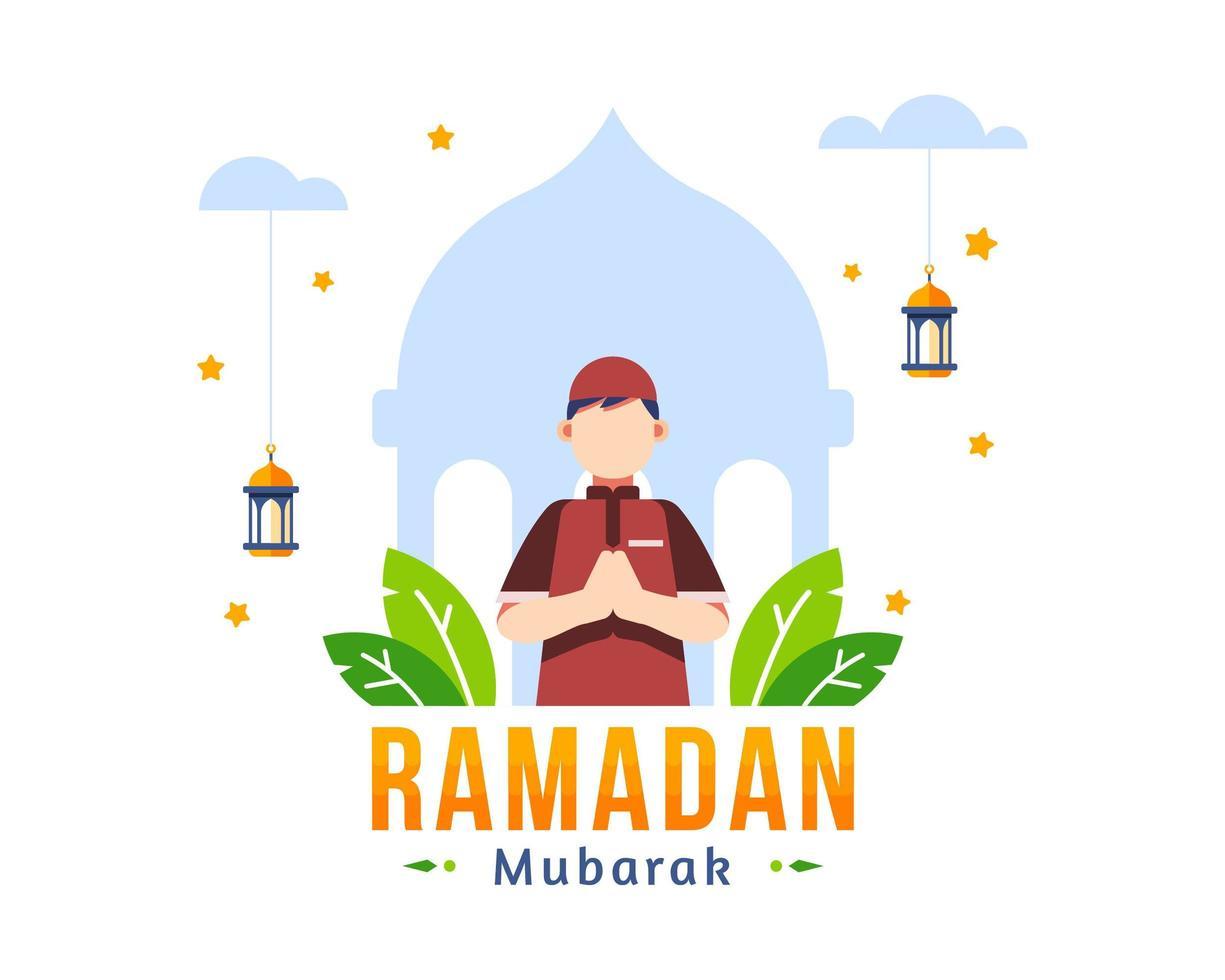 Ramadan Kareem saluto sfondo con musulmano giovane ragazzo in preghiera vettore