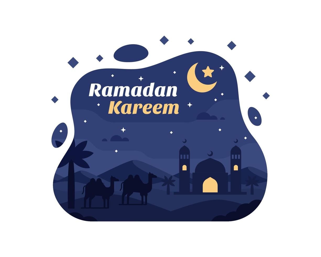 Ramadan Kareem sfondo con cammello e moschea silhouette nel deserto vettore