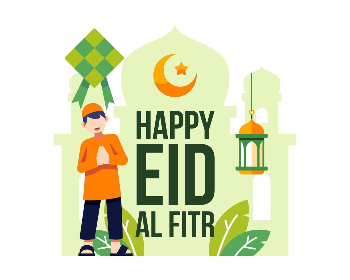 felice eid al fitr sfondo con giovane ragazzo musulmano vettore