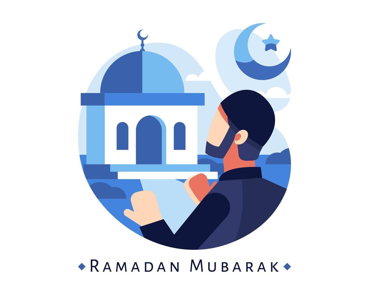 sfondo di Ramadan Mubarak con un uomo musulmano che prega alla moschea vettore