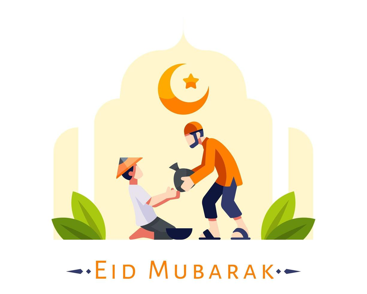 Sfondo di eid mubarak con giovane musulmano che dà donazione vettore