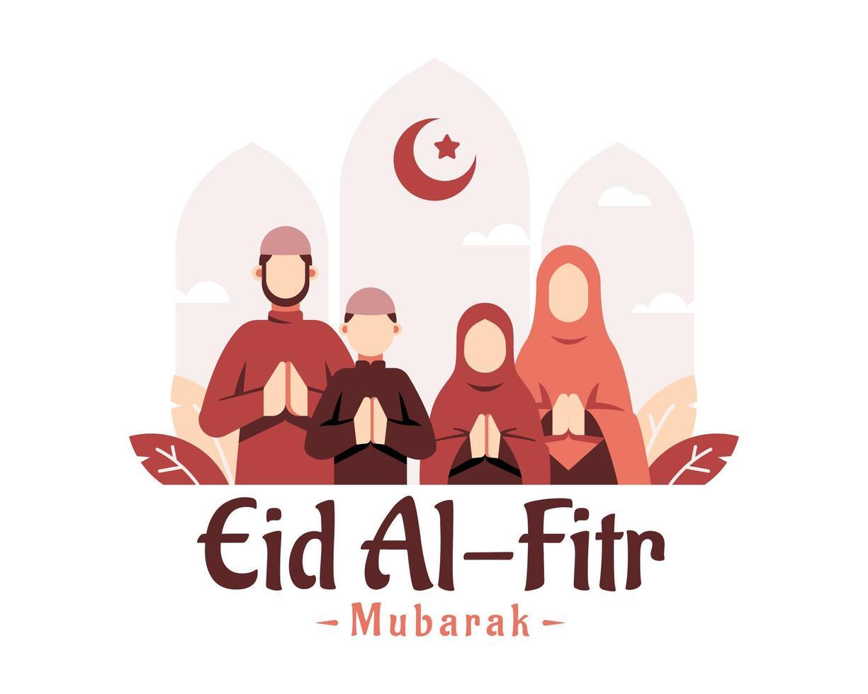 sfondo di Ramadan con la preghiera della famiglia musulmana vettore