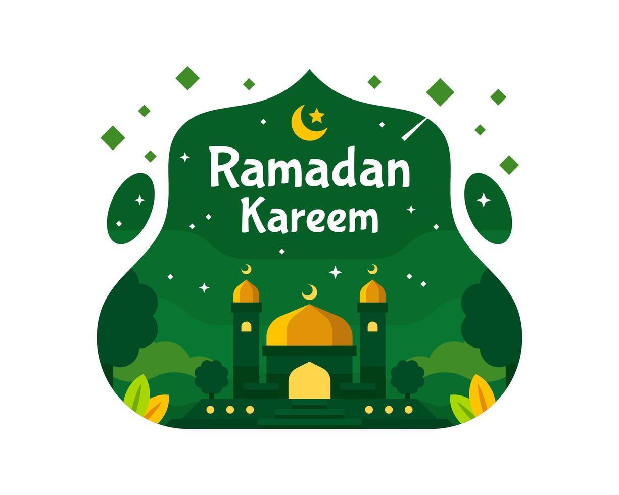 Ramadan Kareem sfondo con moschea in colore verde vettore