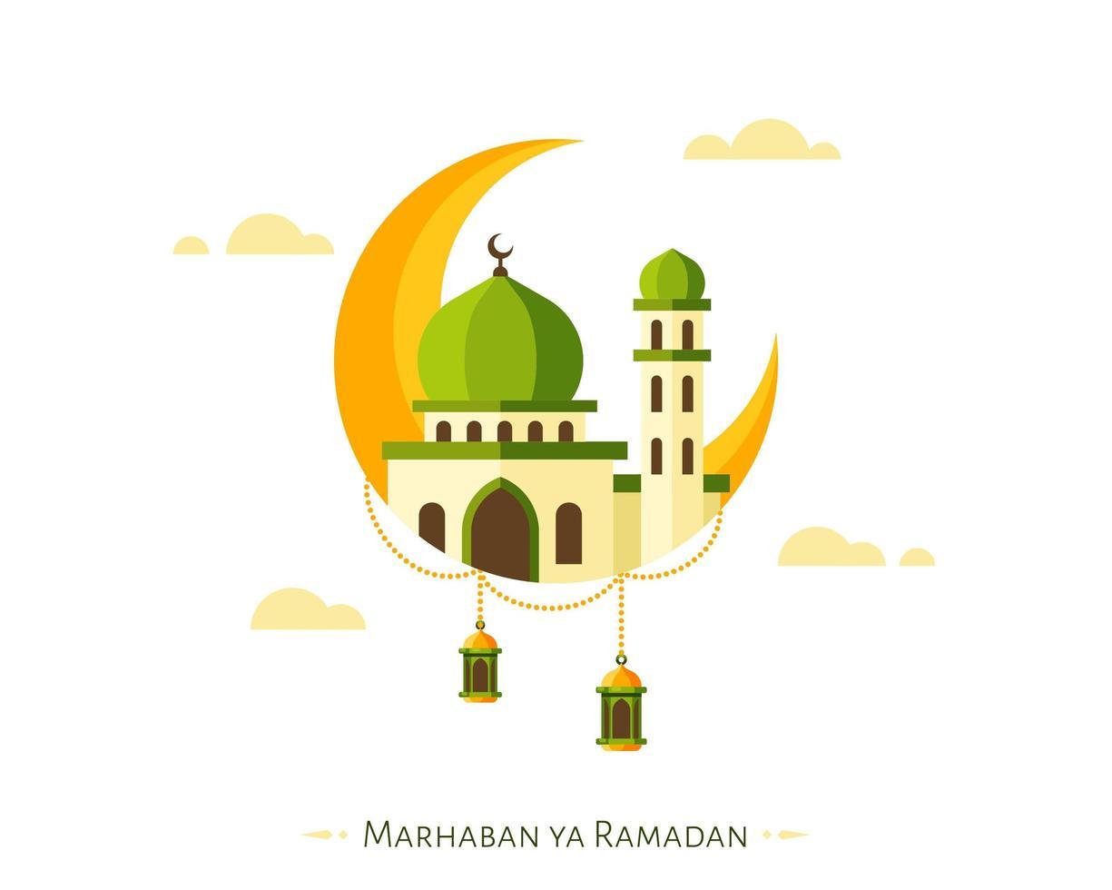 Marhaban ya Ramadan sfondo con mezzaluna e moschea vettore