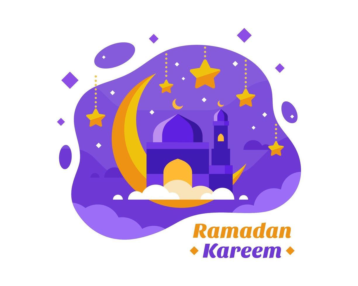 Ramadan Kareem sfondo con mezzaluna in viola e oro vettore