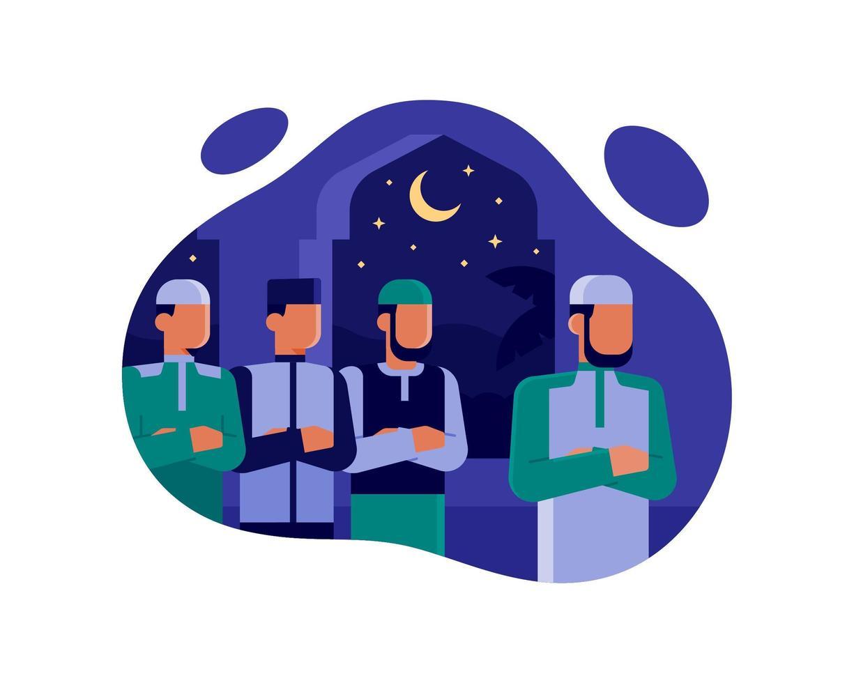 gli uomini musulmani pregano insieme la notte alla moschea vettore