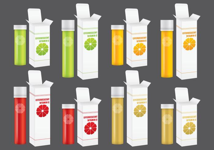 Confezioni vitaminiche effervescenti vettore