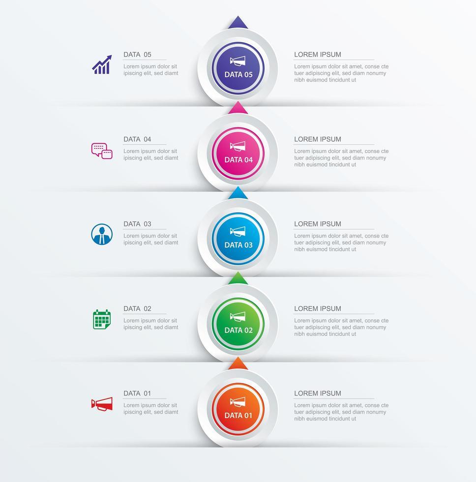 Modello di infografica e timeline passo 5 cerchio vettore
