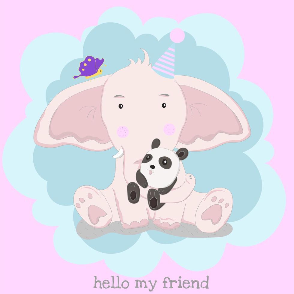 elefantino che indossa il cappello compleanno e tenendo il panda vettore