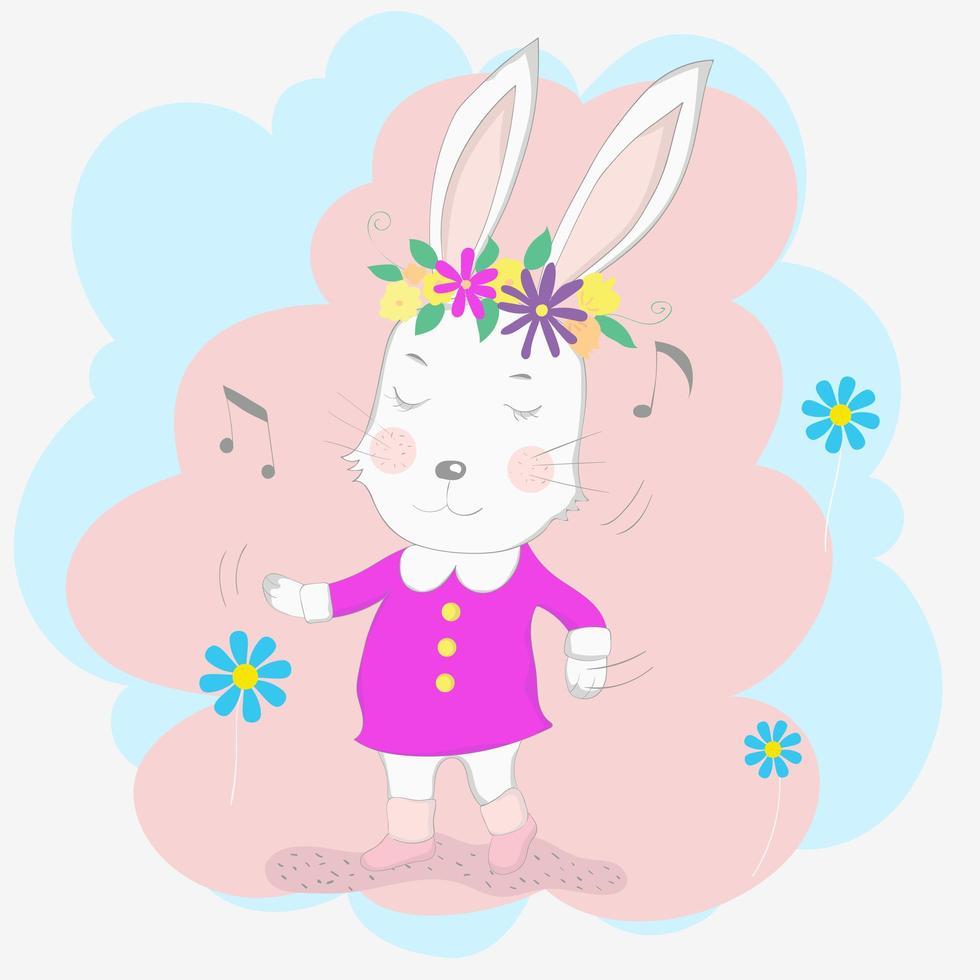 bambina coniglio in un abito rosa, ballando con la musica vettore