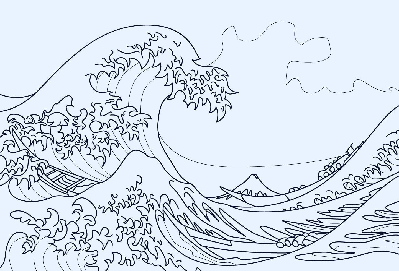 La Grande Ondata Di Kanagawa Da Colorare 1218607 Scarica Immagini Vettoriali Gratis Grafica Vettoriale E Disegno Modelli