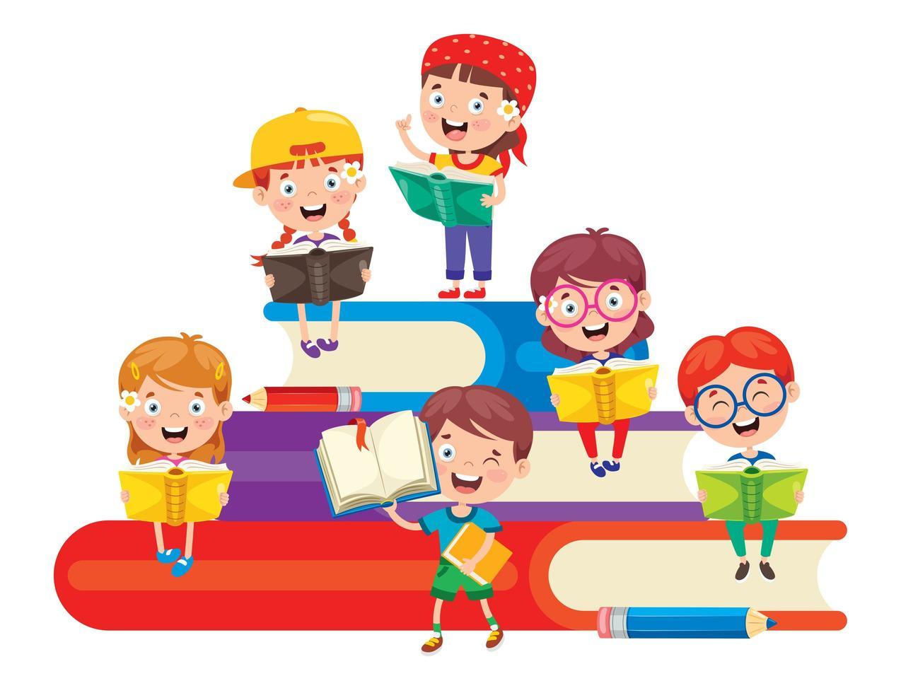 scolari che leggono sulla pila di grandi libri vettore