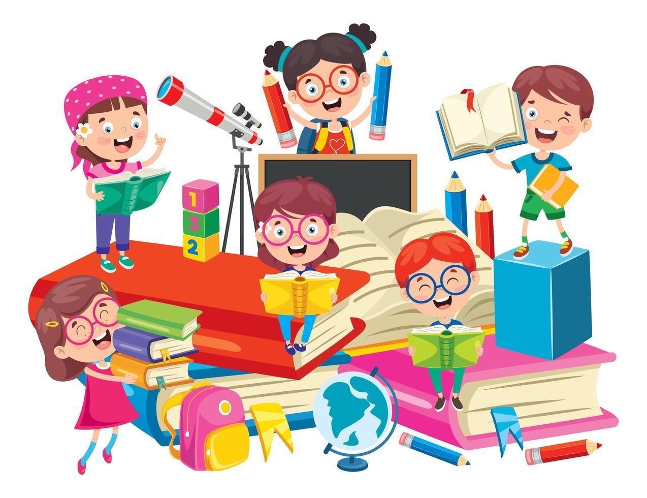 i ragazzi delle scuole sui grandi libri si divertono a imparare vettore
