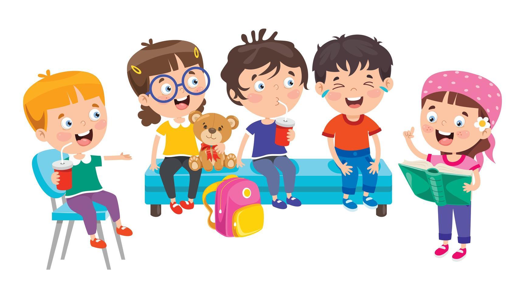 bambini felici della scuola seduti e ridendo vettore