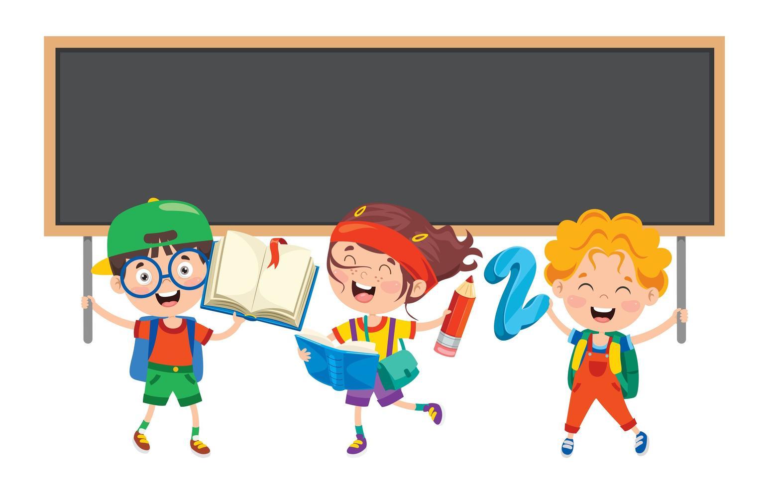 scolari con oggetti scolastici e lavagna vettore